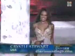 Miss USA Fell Down On Stage in Miss Universe 2008 Chystle Stewart Vietnam Miss Venezuela ganó! México en las finalistas, y Colombia segundo lugar.