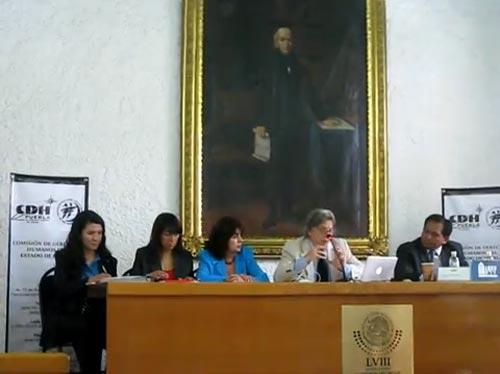 Conferencia Crisis de seguridad y libertad de expresión ponente Doctor Alán Arias Marín, organizada por la Asociación de Mujeres Periodistas y Escritoras de Puebla Ampep y la Comisión de Derechos Humanos del Estado de Puebla CEDH.